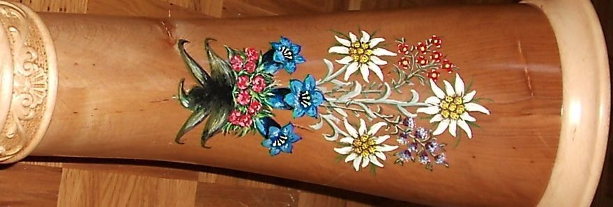 Alphorn artwork with floral motif - Edelweiß and mountain flowers